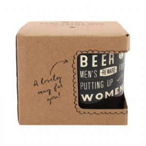 Beer Is Men's Reward For Putting Up With Wome - Black Gift Boxed Mug